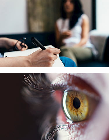 Two images, one of a therapist taking notes on a pad, and another close-up view of an eye.