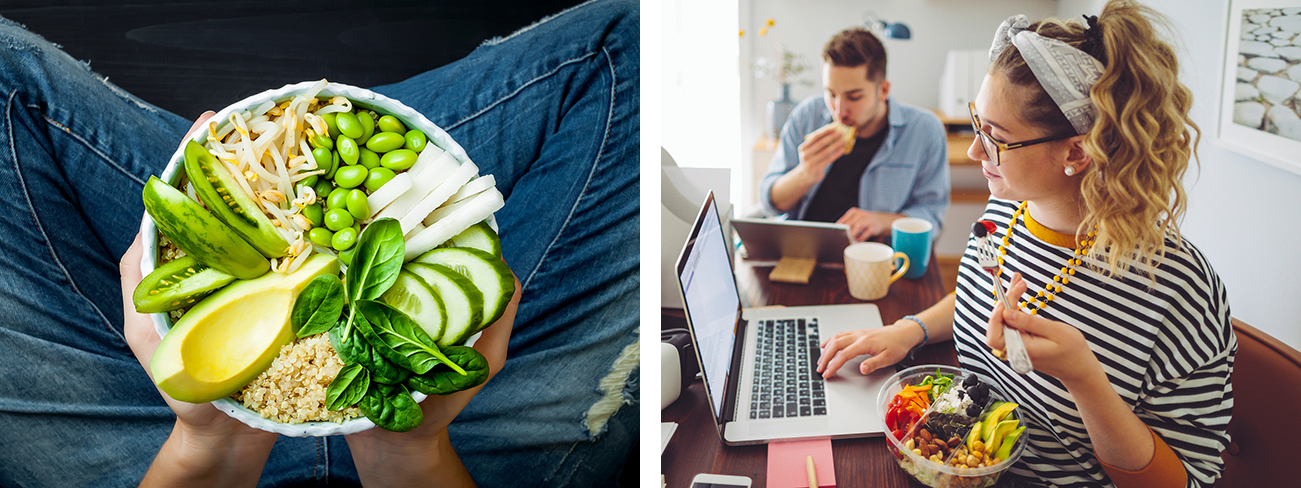 Healthy green salad and young woman eating a salad at a laptop | Newport Institute
