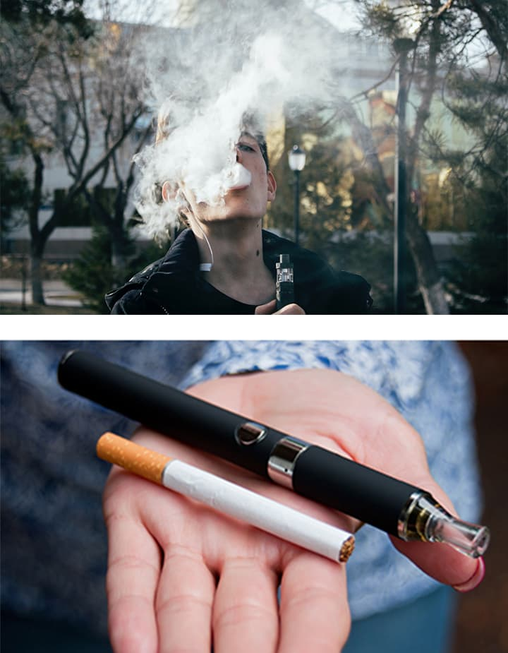 Side-by-side images of a young person blowing a puff of vape smoke and a close-up of a hand presenting a vape and a cigarette in the palm.