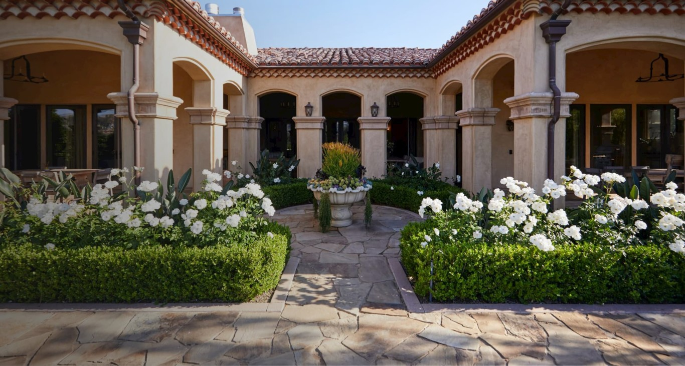 View of the entrance courtyard at a Newport location in California.