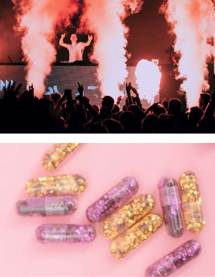 Split image, top showing a DJ above a crowd with pyrotechnics and smoke between them, and on the bottom a set of fake pills containing glitter.